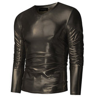 Mens Trend Night Club Wear Halloween Gold Silver Fancy Party Shiny Long Sleeves Slim Fit T-Shirts For Men Tee Top Plus Size 3XL