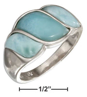 Sterling Silver Swoosh Three Stone Larimar Band Ring