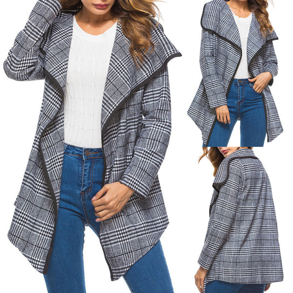 Womens Ladies Winter Lattice Ruffle Lapel Long Sleeve Warm Coat