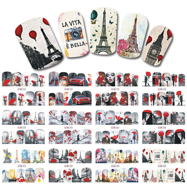 SWEET TREND 12 Design Nail Full Cover Wraps Lady/Car/Building/Lips Pattern Nail Water Transfer Watermark DIY Tips LABN373-384
