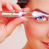 LED Light Eyebrow Tweezer Eyelash Cosmetic Eyebrow Forceps