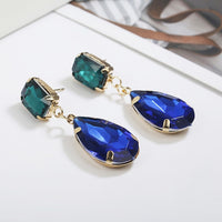Personality Women Fashion Crystal Black Earrings crystal Sweet Trend With Gems drop Earrings wedding Jewelry Gifts girl