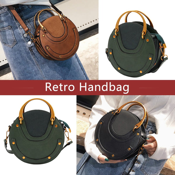 Hot Trend Circular Scrub Leather Women Bag Retro Handbag Small Round Pu Purse