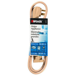 Woods Major Appliance Heavy Duty Extension Cord, 3.2 Foot, Beige