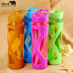 Glass Water Bottle W/Plastic Sleeve