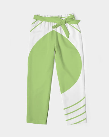Women's Belted Tapered Pants-Light Pea Green