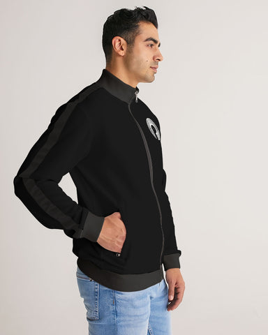 Men's Stripe-Sleeve Track Jacket- Black/White