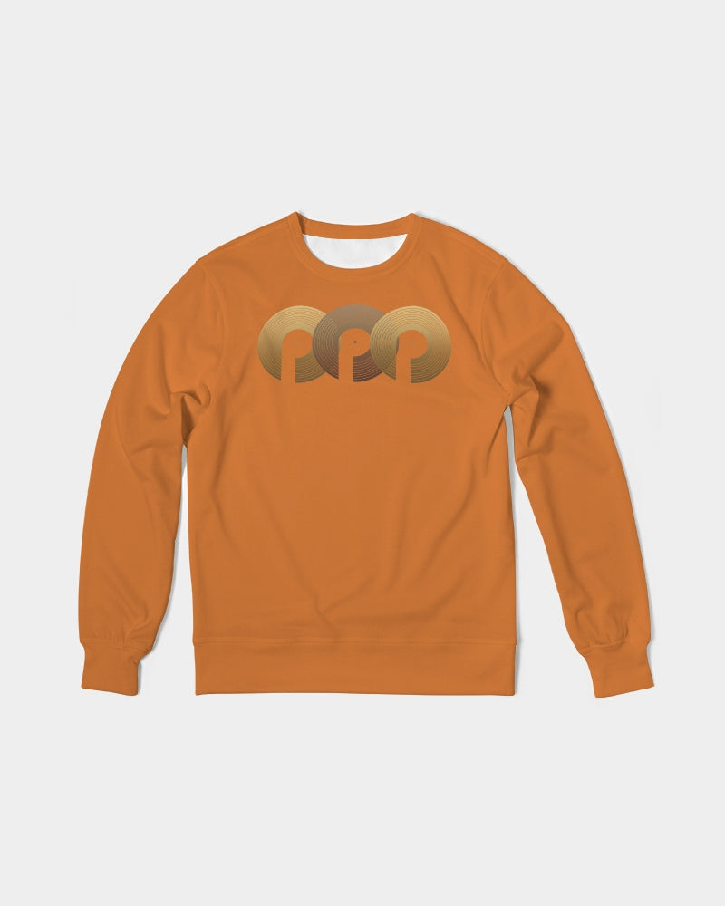 3P'S Men's Classic French Terry Crewneck Pullover-Orange Chocolate