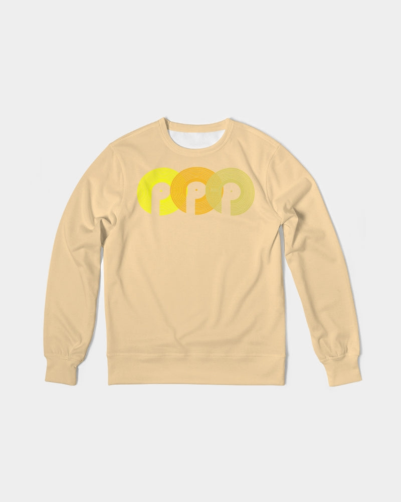 3P'S Men's Classic French Terry Crewneck Pullover-Cream