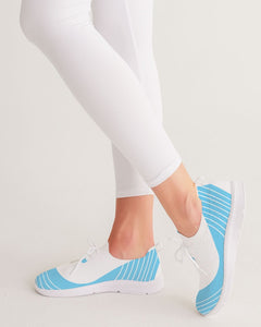 Women's Lace Up Flyknit Shoe- Light Blue