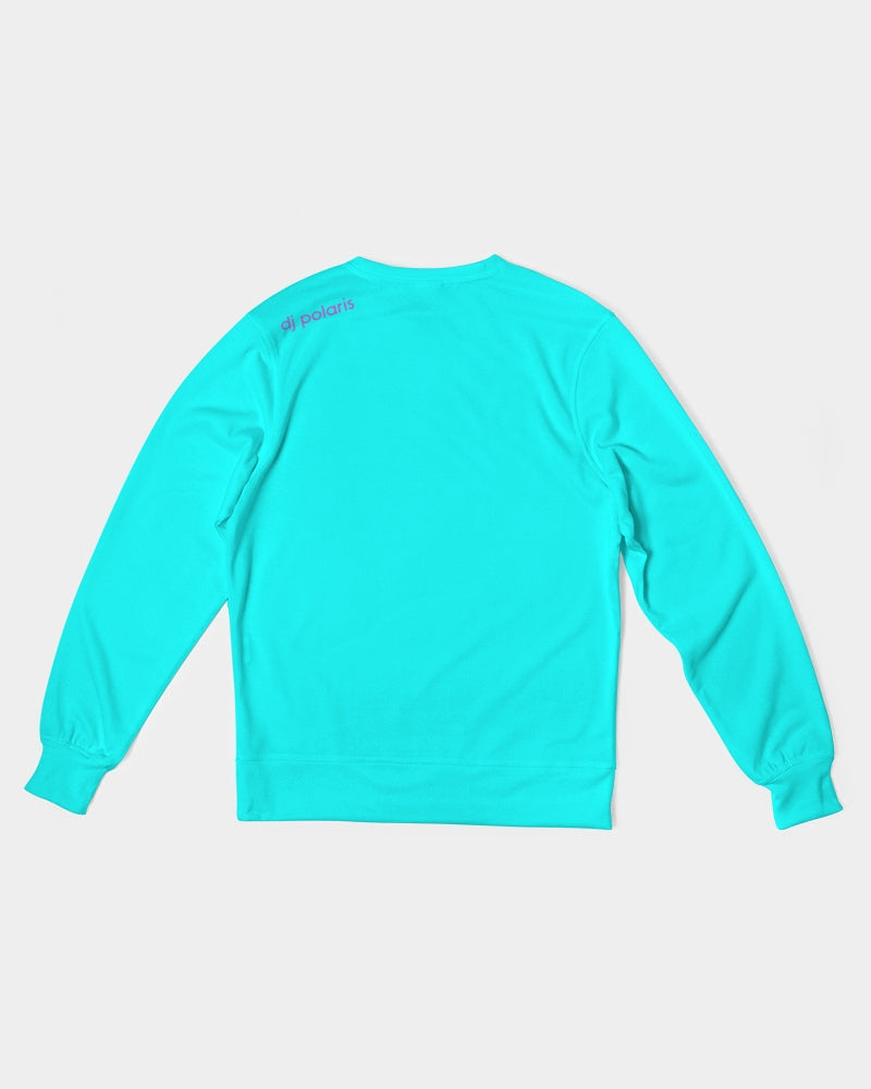 Men's Classic French Terry Crewneck Pullover-Light Blue Flowers
