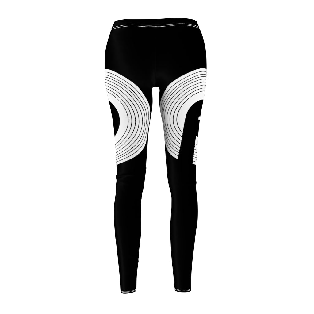 Polaris Women's Cut & Sew Casual Leggings- Black White Logo