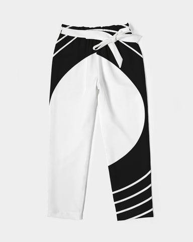 Women's Belted Tapered Pants-White