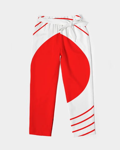 Women's Belted Tapered Pants-Red
