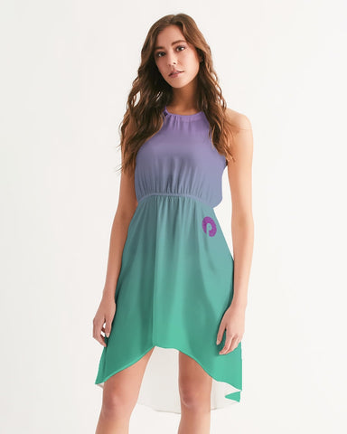 Iridescent Sky Women's High-Low Halter Dress