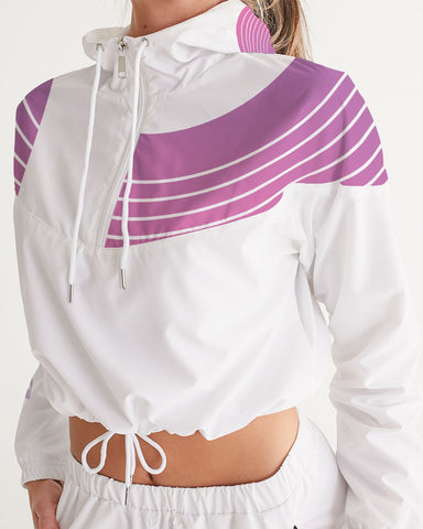 Women's Cropped Windbreaker-Purple Gradient