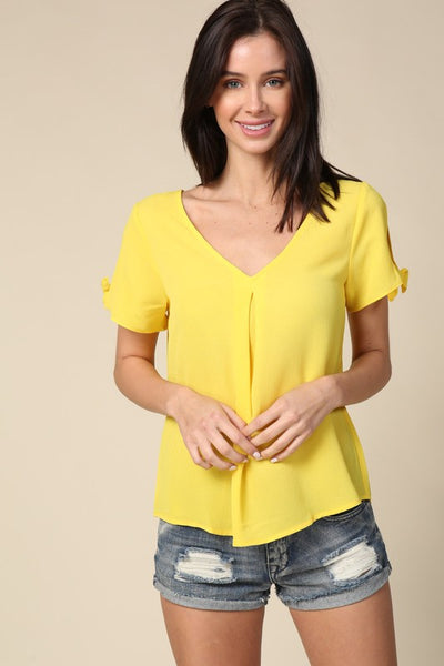 Yellow Tie Sleeve Spaghetti Back Top
