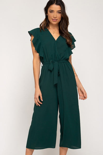 Green Woven Culotte Jumpsuit