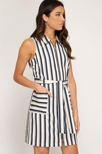 Striped Zipper Woven Twill Dress
