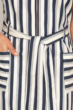 Load image into Gallery viewer, Striped Zipper Woven Twill Dress