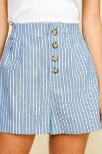 Tortoise Button Striped Shorts