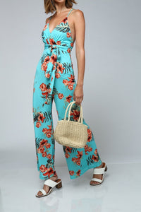 Sleeveless V-Neck Floral Jumpsuit