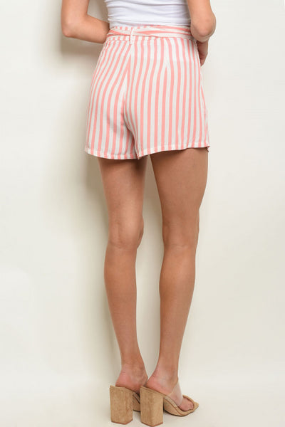 Blush Striped Tie Sash Shorts
