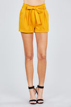 Load image into Gallery viewer, Mustard Tie Sash Shorts