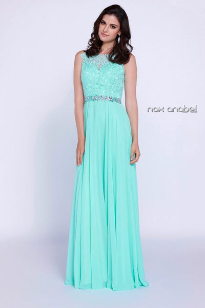 Long Sleeveless Lace Appliqued Bodice Embellished Waist Formal Dress