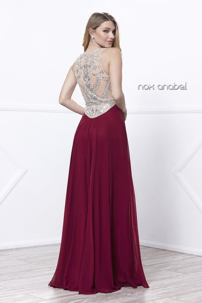 Long Jewel Accent Sleeveless bodice dress