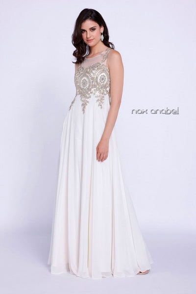 Long Sleeveless Rhinestone Appliques Dress