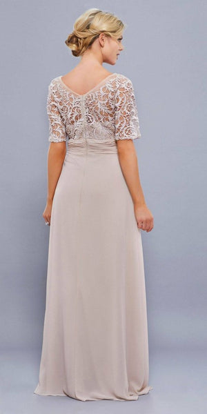 Short Sleeve Chiffon Lace Bodice Long Dress