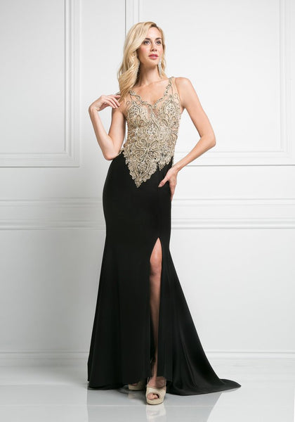 Sleeveless Full Beaded V-Neck Dress With Slit
