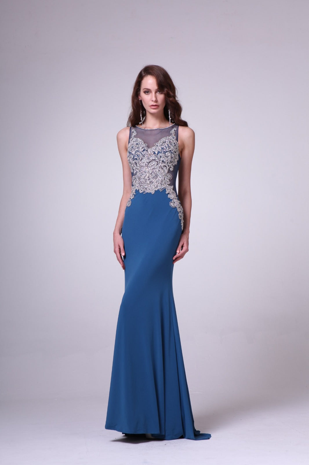 Sleeveless Beaded Embroidered Sheer Dress