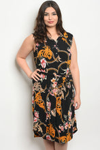 Load image into Gallery viewer, Black With Floral Print Plus Size Dress
