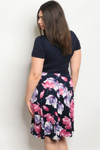 Load image into Gallery viewer, Navy Floral Plus Size Dress