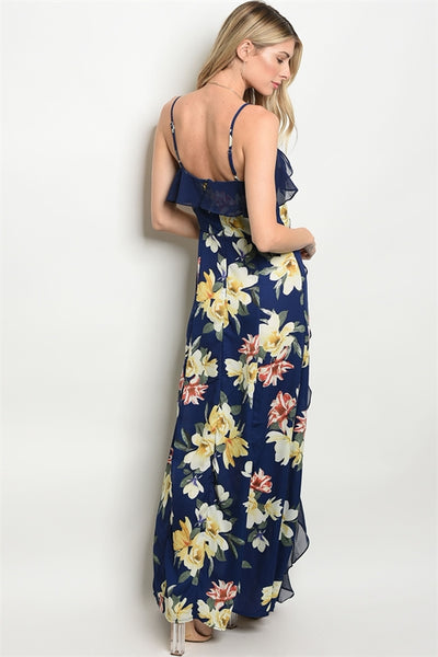 Navy Ruffled Floral Maxi Dress