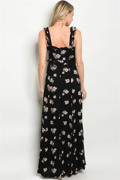 Black Floral Maxi Dress With Slit