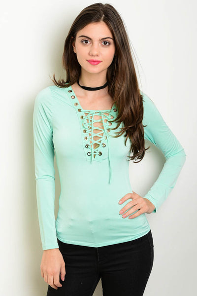 Mint Lace Up Top