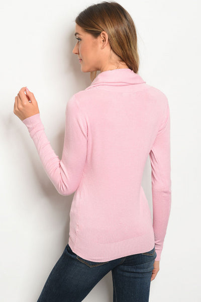 Pink Crowl Neck Sweater Top
