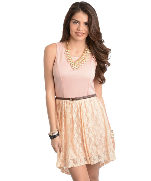 Pink Peach High Low Dress With Belt