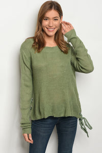 Long Sleeve Side Lace Up Sweater