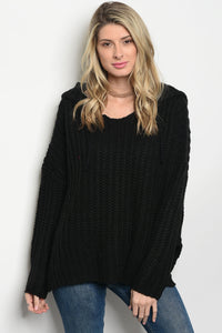 Hooded Knit Pullover Sweater
