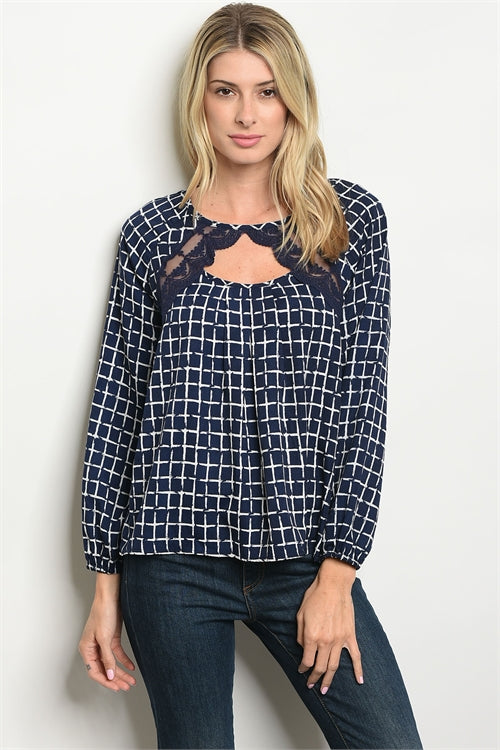 Long Sleeve Navy Checkered Top