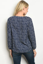 Load image into Gallery viewer, Long Sleeve Navy Checkered Top
