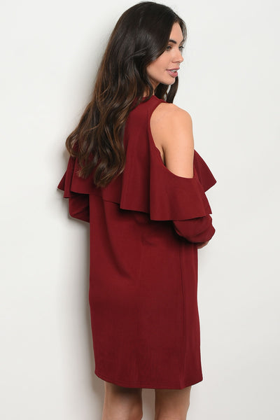 Colder Shoulder Wine Dress