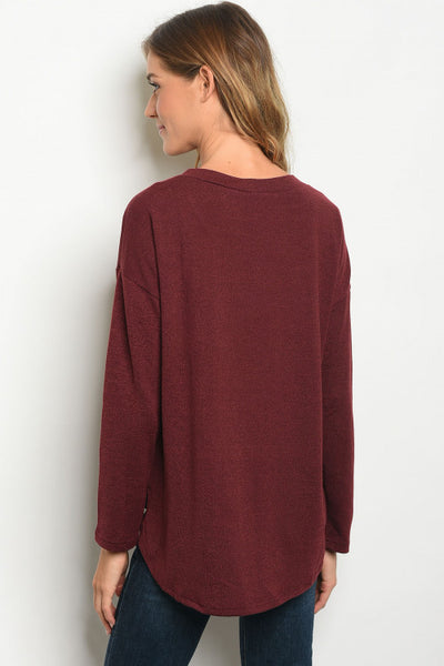 Scoop Tie Neck Wine Sweater