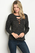 Load image into Gallery viewer, Lace Up Neckline Pullover Sweater