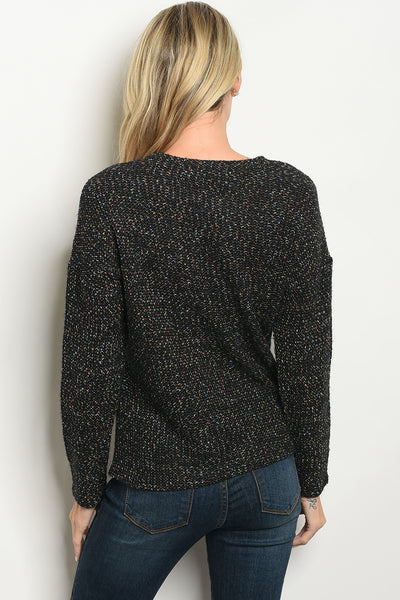 Lace Up Neckline Pullover Sweater