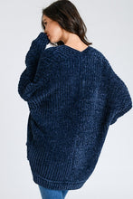 Load image into Gallery viewer, Navy Chenille Soft Textured Long Cardigan